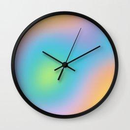 Pastel Rainbow Ombre Blur Design Wall Clock