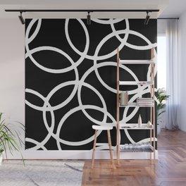 Interlocking White Circles Artistic Design Wall Mural