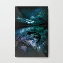 Magical Mountain Lake Teal Metal Print