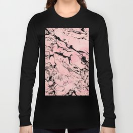 Modern pastel blush pink watercolor marble pattern Long Sleeve T-shirt