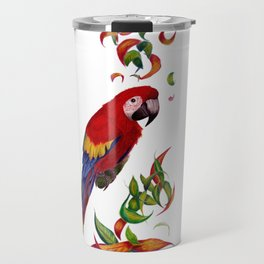 red parrot with rainbow leaves Travel Mug