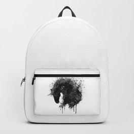 Black and White Horse Head Watercolor Silhouette Backpack