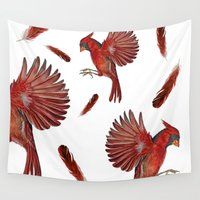 cardinal Wall Tapestries featuring Cardinal by Jody Edwards Art