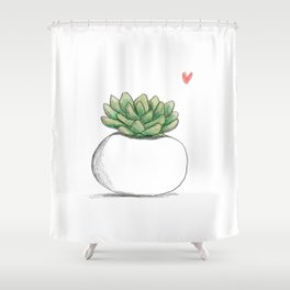 Succulent in Plump White Planter Shower Curtain