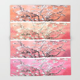 Vincent Van Gogh Almond Blossoms Panel Pink Peach Throw Blanket