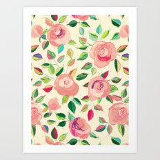 Pastel Roses in Blush Pink and Cream  Art Print