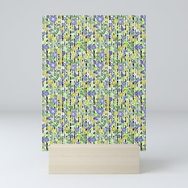 Yellow green floral pattern on a striped background. Mini Art Print