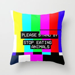 Please Stop Eating Animals Glitch  Throw Pillow