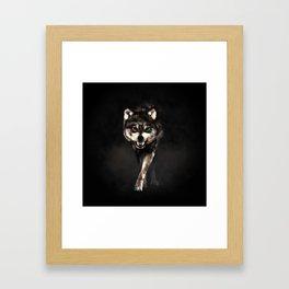 Growling Wolf Framed Art Print