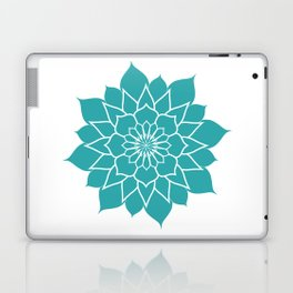 Teal mandala flower, geometrical floral pattern Laptop & iPad Skin