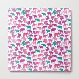 Watercolor Elephant Stampede Pretty Pattern Metal Print