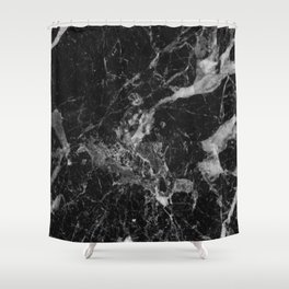 Black and Gray Marble Pattern Shower Curtain