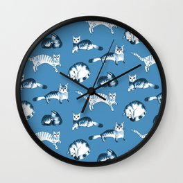 Cats, cats, cats pattern in blue palette Wall Clock