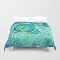 karen hallion Duvet Covers featuring Karen the Diver by Timo Ambo