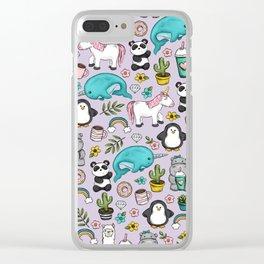 Narwhal and Friends, Emoji Tween Print, Unicorn, Cute Panda, Frappuccino, Penguin, Hippo Girls Art Clear iPhone Case
