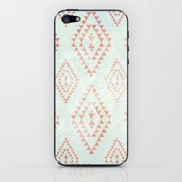 mint & coral tribal pattern iPhone Skin