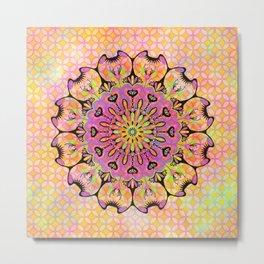 Pastel Rainbow Flower Mandala, Ultra Violet Geometric Boho Kaleidoscope Popart Metal Print