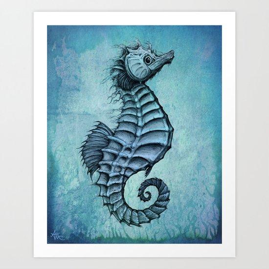"""Seahorse II"" by Amber Marine ~ Ink and Watercolor Art, (c) 2016 Art Print"