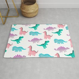 Cute whimsical pastel watercolor dinosaurs pattern illustration Rug
