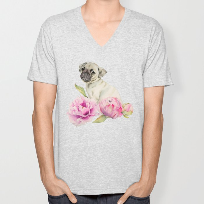 Pug and Peonies | Watercolor Illustration Unisex V-Neck