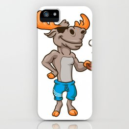 Funny illustration of a moose with racket and ball iPhone Case