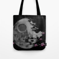 death star Tote Bags featuring Death Star by Berta Merlotte