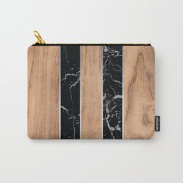Wood Grain Stripes Black Granite #175 Carry-All Pouch