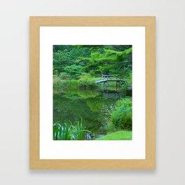 Japanese Bridge in Forest Framed Art Print