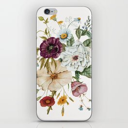 Colorful Wildflower Bouquet on White iPhone Skin