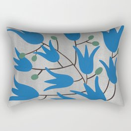 Blue Bell Flowers – Scandinavian Folk Art Rectangular Pillow