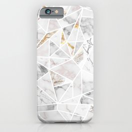 White Marbel Stone Geometric iPhone Case