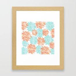 aqua and coral flowers Framed Art Print