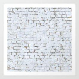 Vintage White Brick Wall Art Print