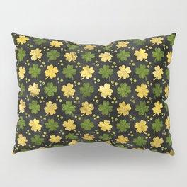 Irish Shamrock Four-leaf clover  Gold black Pillow Sham