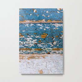 Worn Blue Wood Metal Print