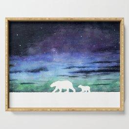 Aurora borealis and polar bears (white version) Serving Tray