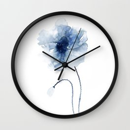 Blue Watercolor Poppies #2 Wall Clock