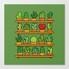 Love Yourself Cactus Heart Canvas Print
