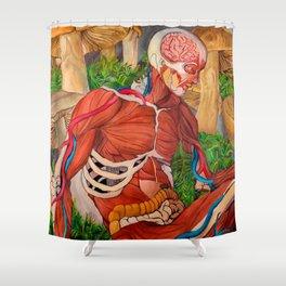 Trippy Mushroom Art Print (Psychedelic, Surreal Visionary Art, LSD, Buddha Anatomy ) Shower Curtain