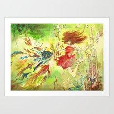 a girl and fish Art Print
