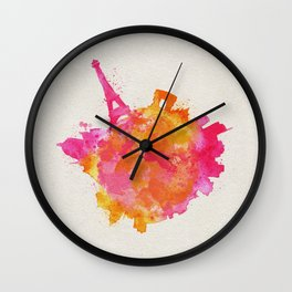 Paris, France Colorful Skyround / Skyline Watercolor Painting Wall Clock