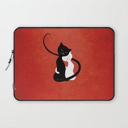White And Black Cats In Love (red) Laptop Sleeve