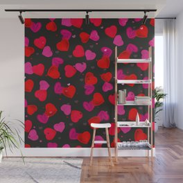 Valentine's Day background with hand drawn pink and red heart black background Wall Mural