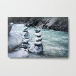 Rocks Stacked by the Creek Metal Print
