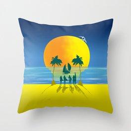 Beach Skull Throw Pillow