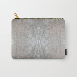 Silver Velvet Snake Pattern Carry-All Pouch