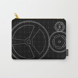 Set of white gears and cogs on virtual screen Carry-All Pouch