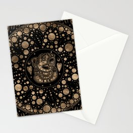 Lord Ganesha Gold and Black Dot Art Stationery Cards