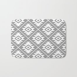 Aztec Symbol Pattern White on Gray Bath Mat