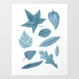 Blue Leaf Pattern Art Print